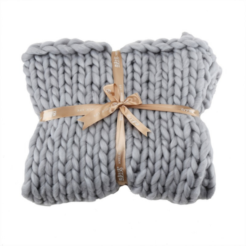 Large-Warm-Hand-Knitted-Blanket-Wool-Thick-Line-Yarn-Winter-Chunky-Sofa-Throw miniature 11