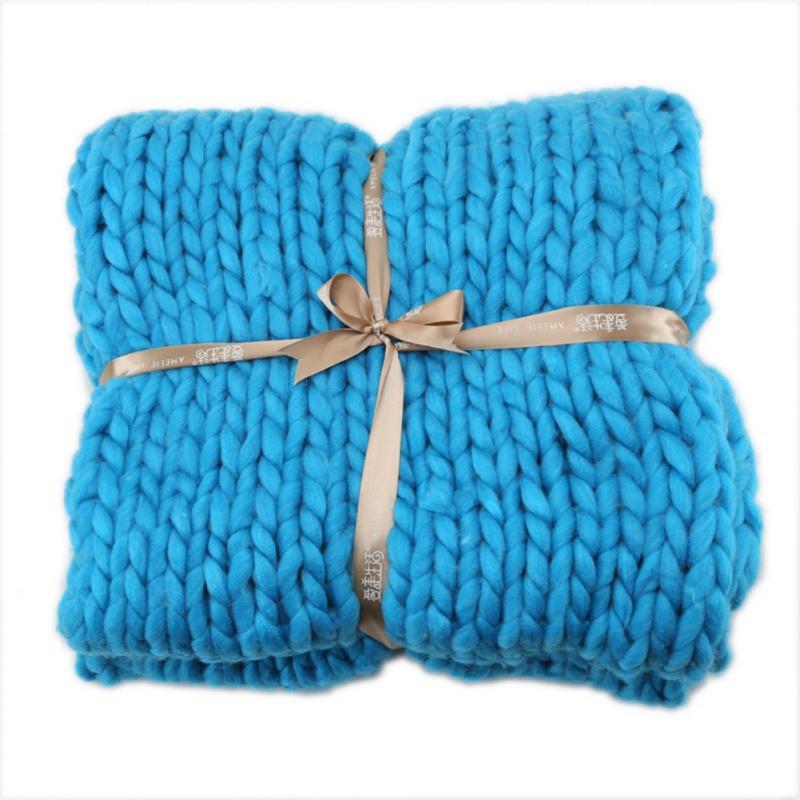 Large-Warm-Hand-Knitted-Blanket-Wool-Thick-Line-Yarn-Winter-Chunky-Sofa-Throw miniature 13