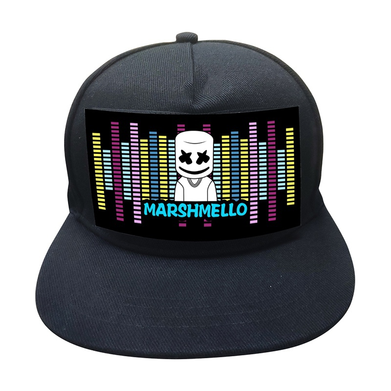 Black Baseball Cap With Sound Music Activated Led Light Up