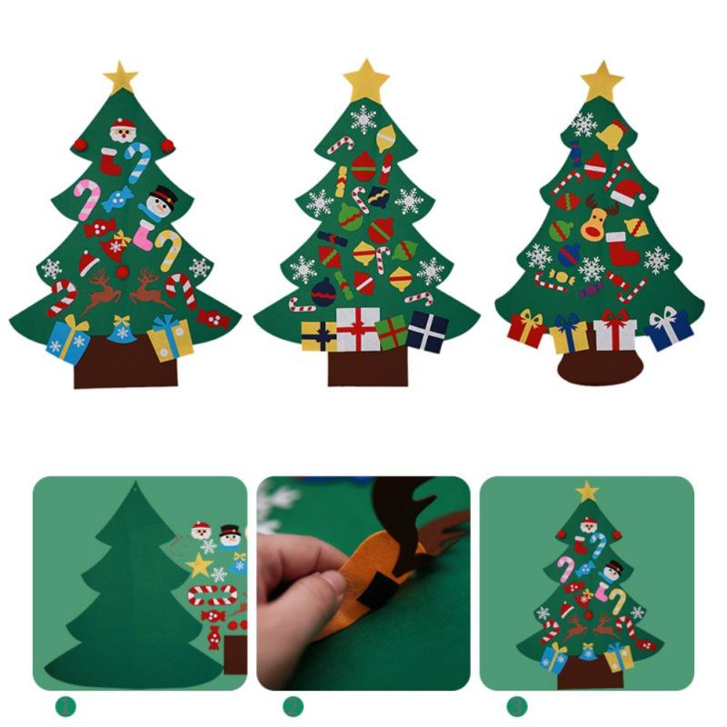 Kids Baby DIY Felt Christmas Tree Set w/ 26 Removable Ornament Xmas ...