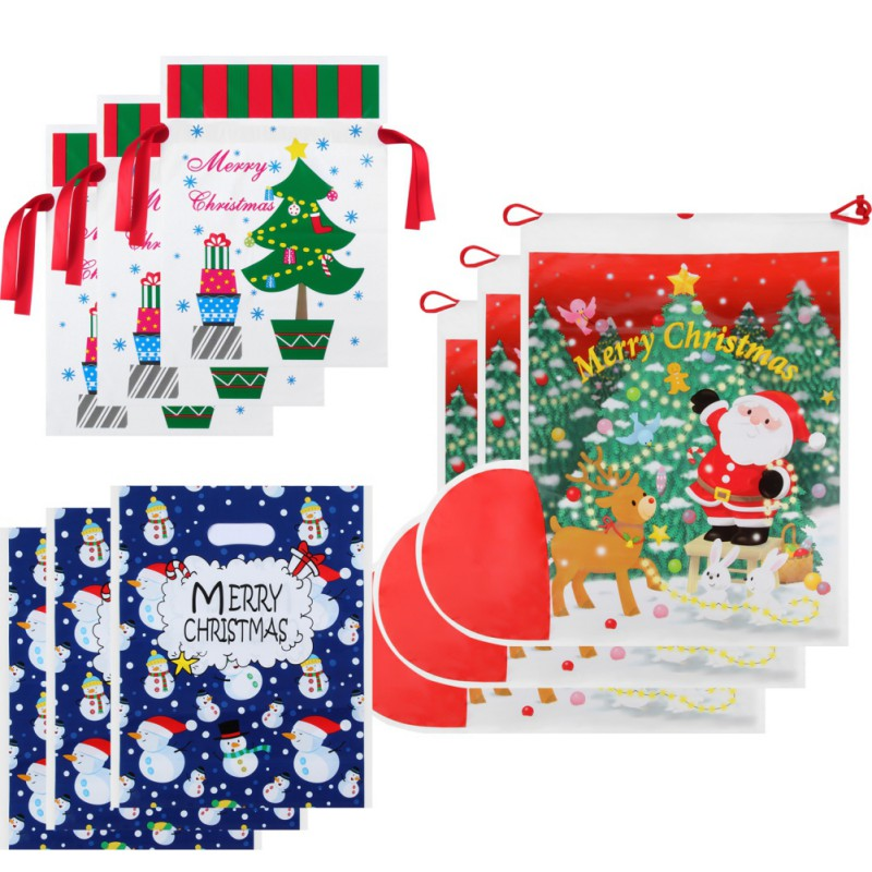 Christmas Wrapping Gift Bag Santa Claus Drawstring Sack Xmas