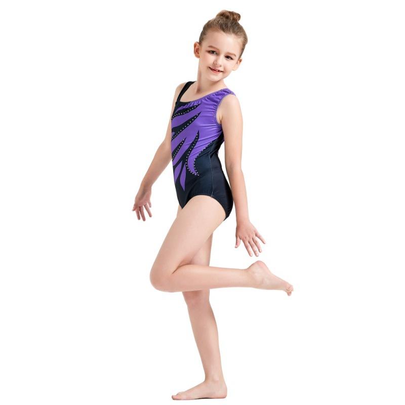Kid-Girl-Shiny-Ballet-Dance-Gymnastics-Leotards-Athletic-Tank-Bodysuit-for-3-14Y thumbnail 14