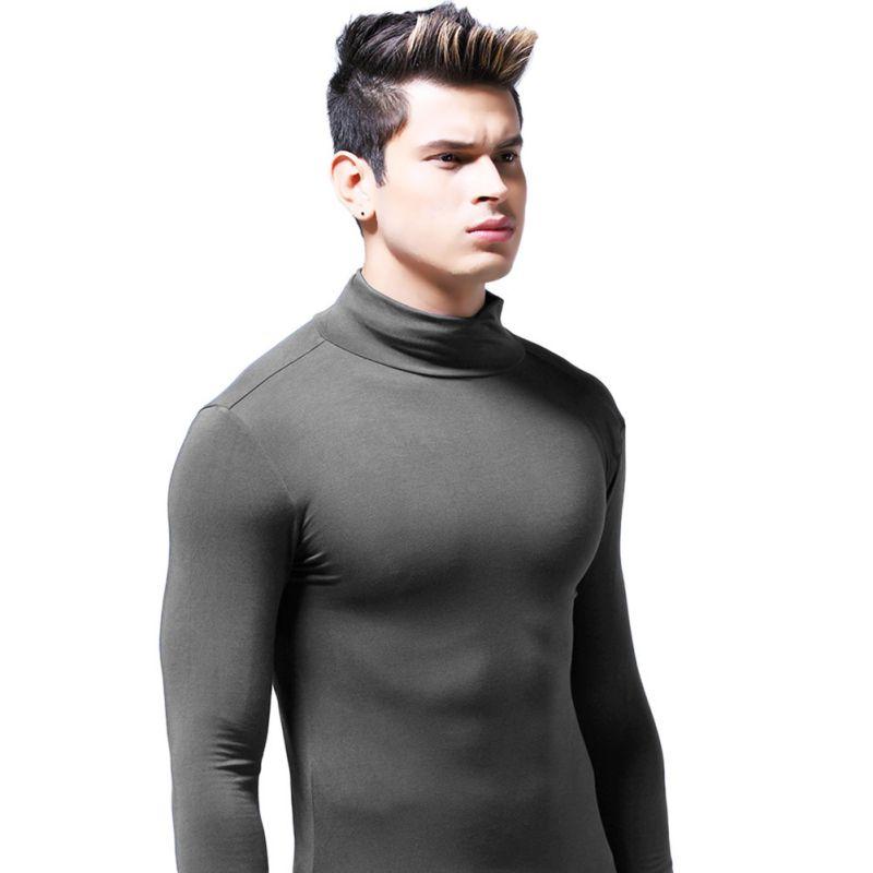 Fashion-Men-High-Neck-Slim-Fit-Long-Sleeve-Shirt-Warm-Thermal-Baselayer-Tee-Top thumbnail 16