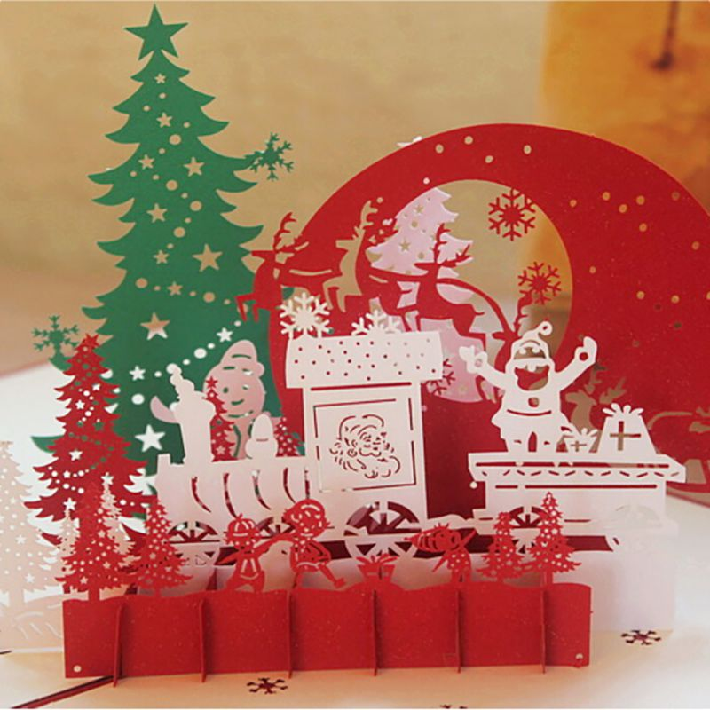 3D Pop Up Christmas Cards Handmade Holiday Greeting Card Postcard ...