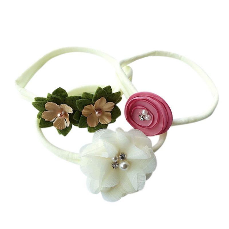 Handmade Toddler Knot Hair Band 3x//Set Newborn Baby Infant Girls Flower Headband