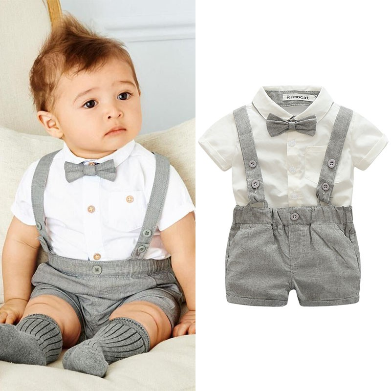 Baby Boy Wedding Formal Suit Bowtie Gentleman Romper