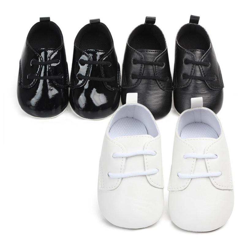 Baby Boy Pre-Walker Patent PU Upper soft sole Dress Shoe BLACK