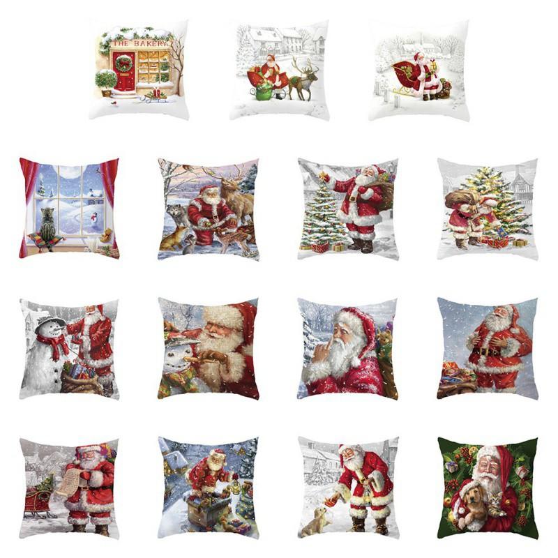Christmas-Pillow-Case-Santa-Velvet-Sofa-Car-Throw-Cushion-Cover-Decoration-18-039-039 thumbnail 4