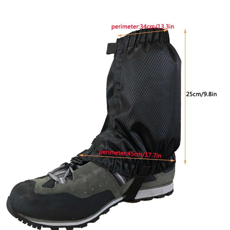 Waterproof Nylon Hiking Snow Gaiters Legging Boot Cover 34cm Lightweight