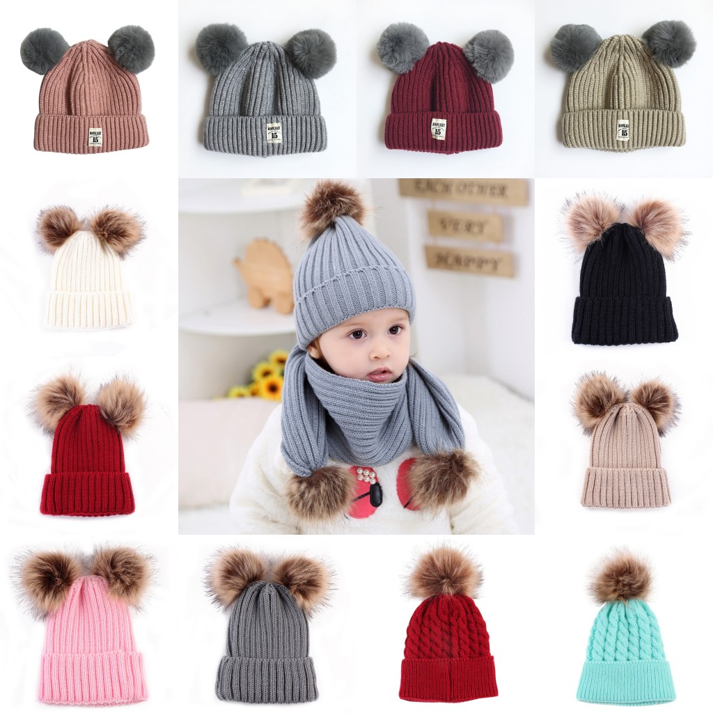 7d3402427e4 Winter Warmer Newborn Infant Toddle Wool Fur Pompom Ball Baby Kids Knitted  Hat