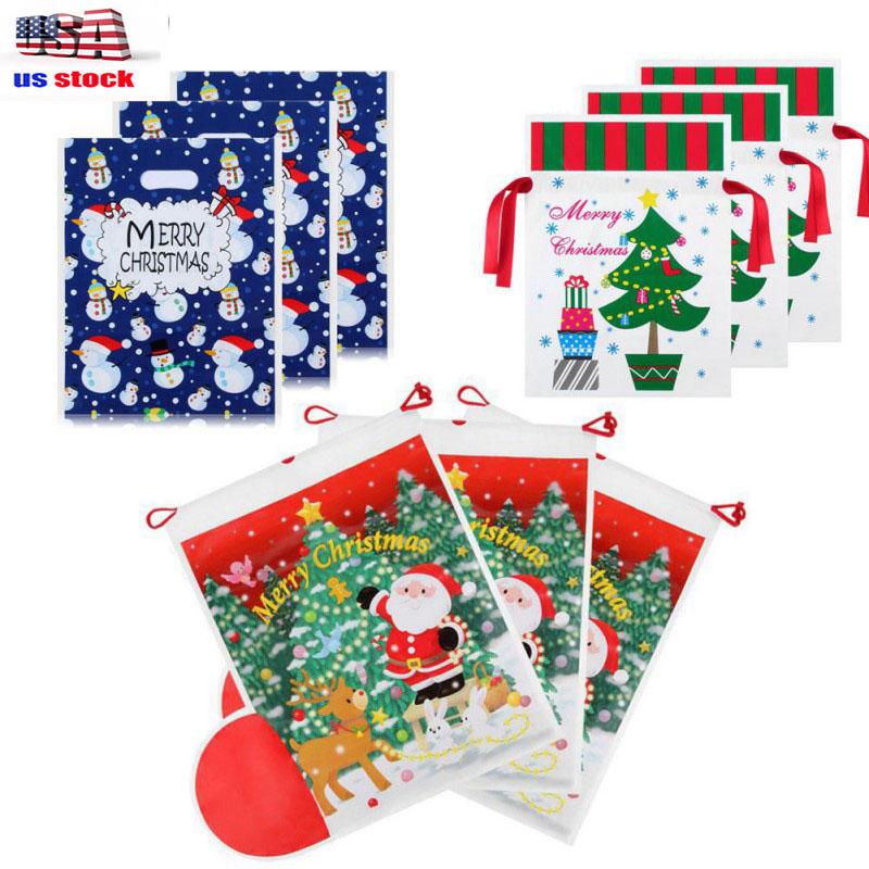 Christmas Wrapping Drawstring Gift Bag Santa Claus Xmas Pres
