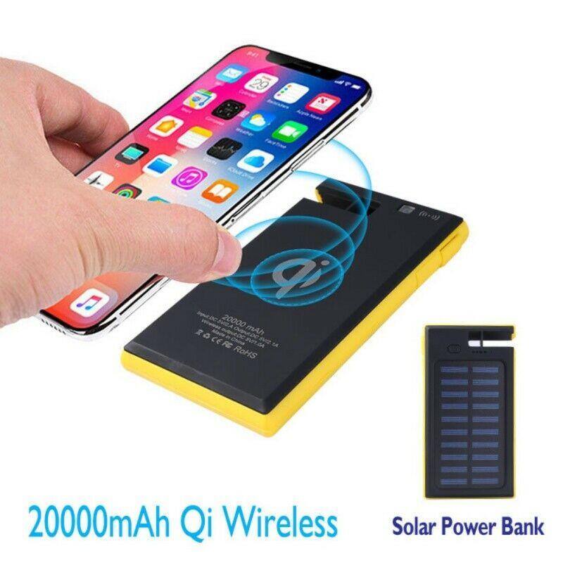 20000/50000mAh Portable Solar Power Bank 2USB LED Battery Ch
