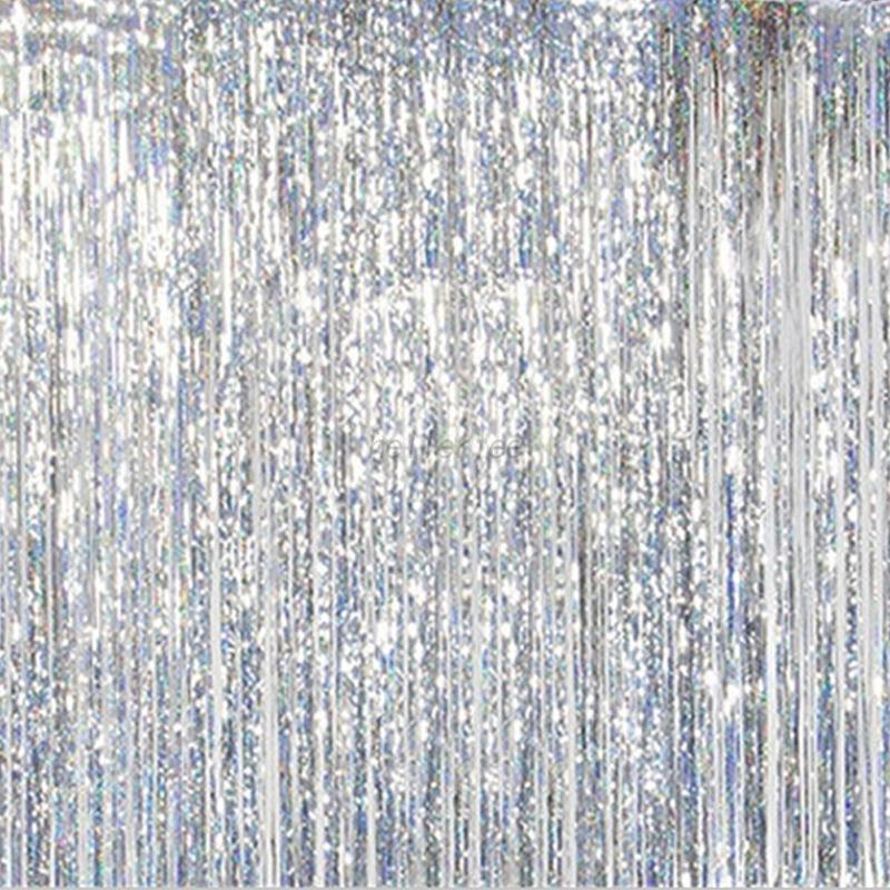 Metallic Shimmer Fringe Curtain Party Wedding Foil Tinsel